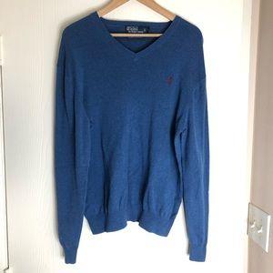 Polo Ralph Lauren Pima Cotton V-Neck Blue Sweater